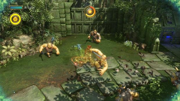 In einer Art Maya-Hochebene muss Knack gegen Fantasymonster kämpfen. (Screenshot: Golem.de / Bild: Sony)