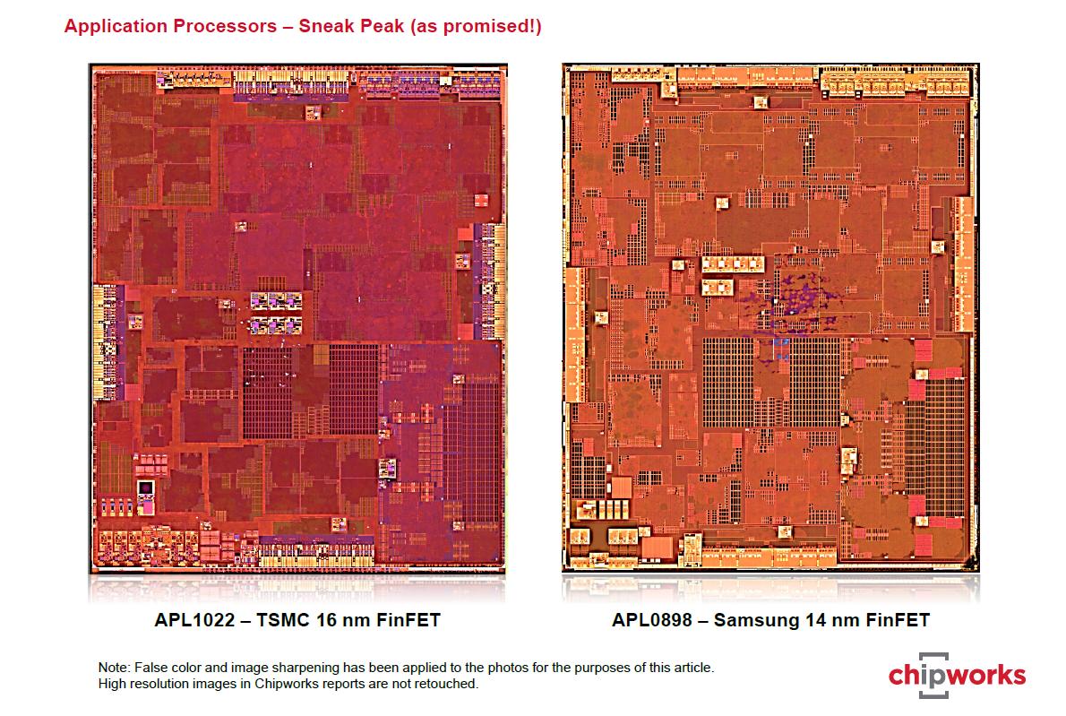 Fertigungstechnik: Das Nanometer-Marketing - Der A9 von Samsung ist kleiner als der A9 von TSMC. (Bild: Tech Insights)