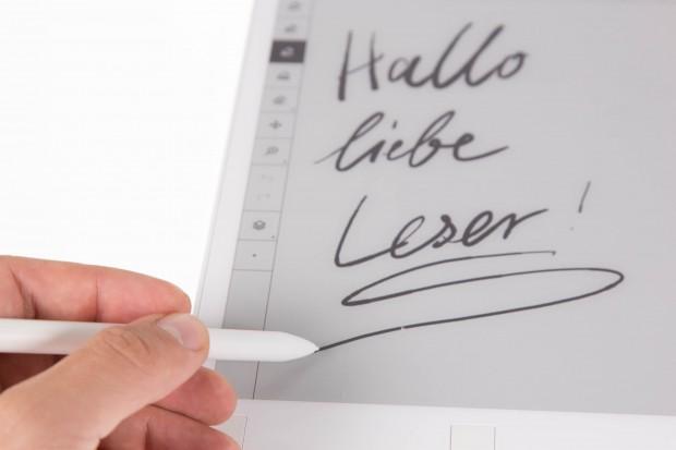 Das Schreibgefühl empfinden wir als ähnlich zu einem Bleistift, mit dem wir auf Papier schreiben. (Bild: Martin Wolf/Golem.de)