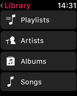 WatchOS 4.0 im Test: Apples praktische Taschenlampe mit autarkem Musikplayer - Aufteilung der Musikkategorien ... (Screenshot: Golem.de)