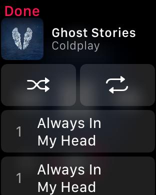 WatchOS 4.0 im Test: Apples praktische Taschenlampe mit autarkem Musikplayer - ... und verdoppelt Songs, obwohl sie nur einmal auf der Apple Watch vorhanden sind. (Screenshot: Golem.de)