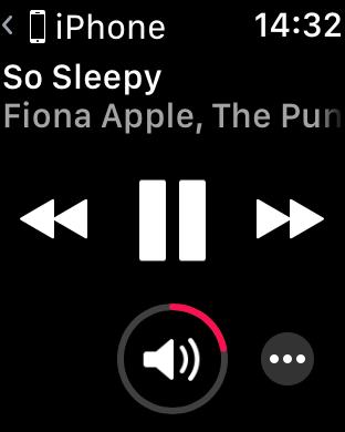 WatchOS 4.0 im Test: Apples praktische Taschenlampe mit autarkem Musikplayer - Oben links wird angezeigt, wo die Musik herkommt. Diese Anzeige kommt automatisch. (Screenshot: Golem.de)