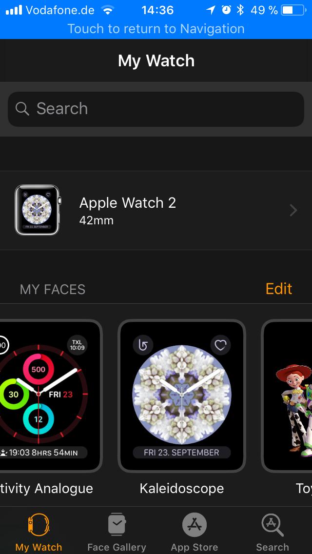 WatchOS 4.0 im Test: Apples praktische Taschenlampe mit autarkem Musikplayer - Die iPhone-App ... (Screenshot: Golem.de)
