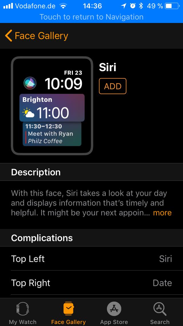 WatchOS 4.0 im Test: Apples praktische Taschenlampe mit autarkem Musikplayer - Das Siri-Watchface ist besonders praktisch. (Screenshot: Golem.de)