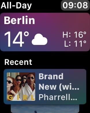 WatchOS 4.0 im Test: Apples praktische Taschenlampe mit autarkem Musikplayer - Auch Musik taucht manchmal in dem Zifferblatt auf. (Screenshot: Golem.de)