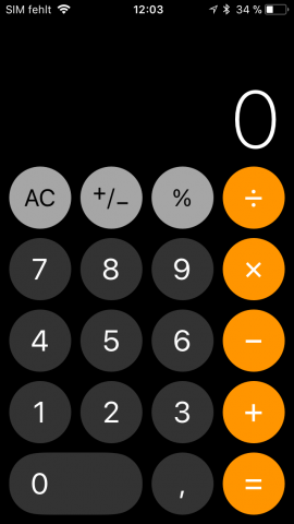 Runde Tasten beim Taschenrechner (Screenshot: Golem.de)