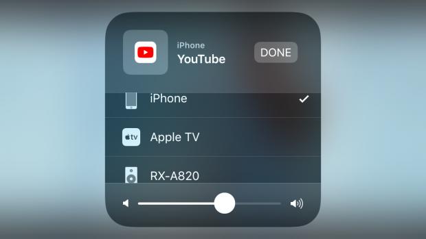Unser iPhone SE im Quermodus. Airplay ist übersichtlicher geworden. (Screenshot: Golem.de)