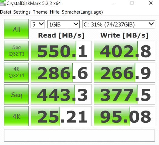 Die SSD ist vergleichsweise langsam. (Screenshot: Oliver Nickel/Golem.de)