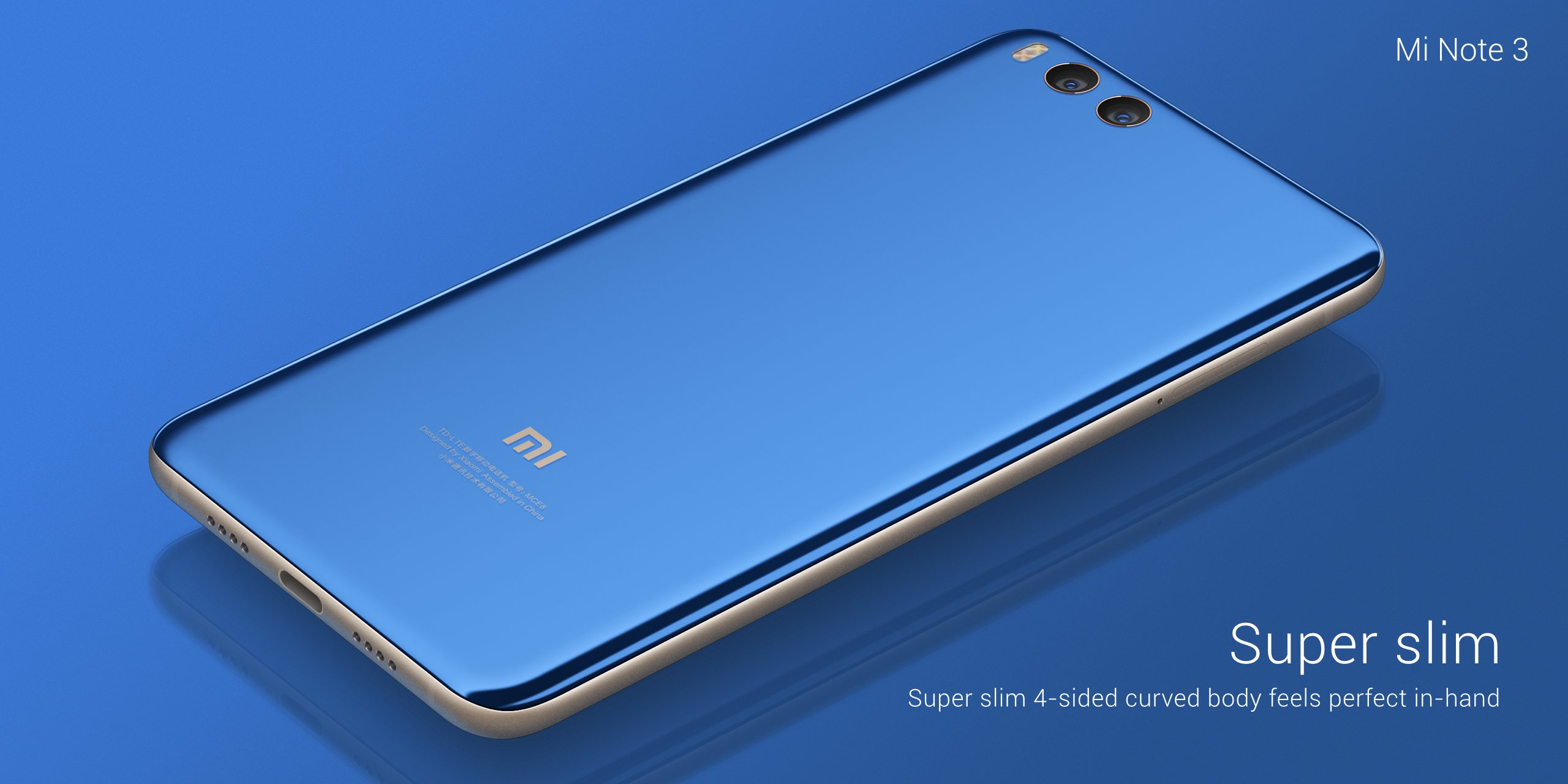 Xiaomi: Mi Note 3 hat eine Dual-Kamera und ein großes Display - Das neue Mi Note 3 von Xiaomi (Bild: Xiaomi)