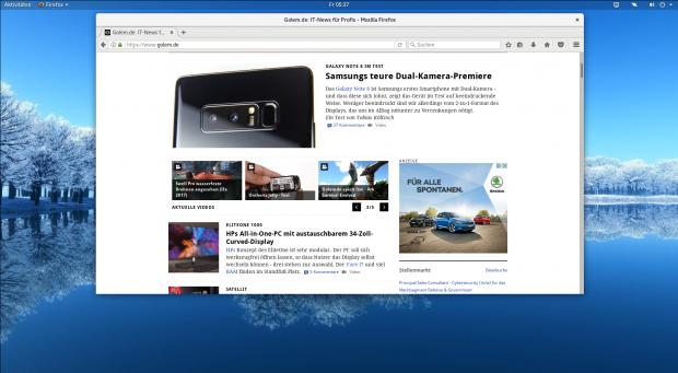 In Gnome 3.26 ist die obere Titelleiste zunächst transparent, ... (Gnome/Screenshot: Golem.de)