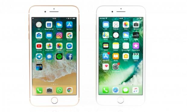 Das iPhone 8 Plus (l.) ist von vorne nicht vom iPhone 7 Plus zu unterscheiden. (Bild: Martin Wolf/Golem.de)