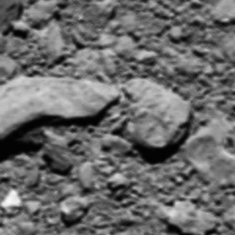 Rosettas letztes Bild, kurz vor dem Aufsetzen auf Tschuri. Es entstand in etwa 20 Meter Höhe. (Foto: ESA/Rosetta/MPS for OSIRIS Team MPS/UPD/LAM/IAA/SSO/INTA/UPM/DASP/IDA)