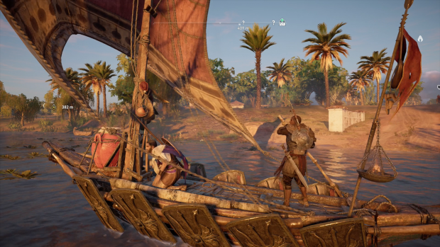 In einem Sumpf segeln wir mit einem Begleiter zum Zielort der nächsten Mission. (Bild: Ubisoft/Screenshot: Golem.de)