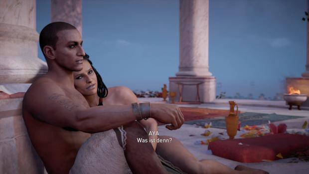 Bayek und seine Frau Aya bei einem Schäferstündchen ... (Bild: Ubisoft/Screenshot: Golem.de)