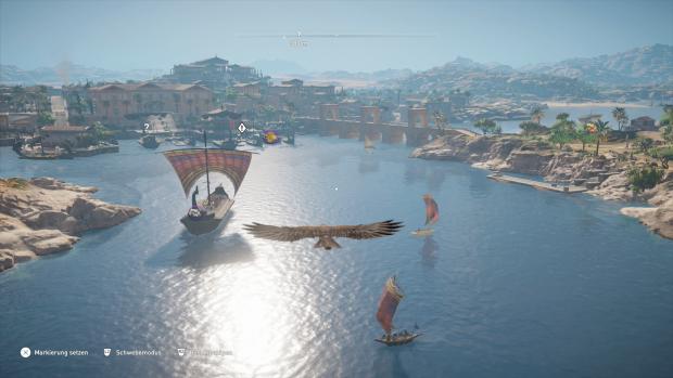 Mit unserem Adler schweben wir über dem Hafen von Alexandria. (Bild: Ubisoft/Screenshot: Golem.de)
