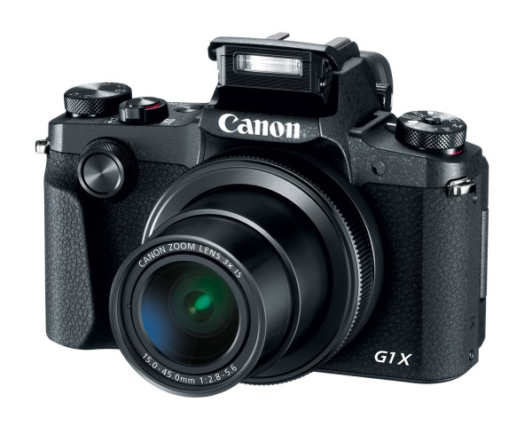 Canon G1 X Mark III mit geöffnetem Aufklappblitz(Bild: Canon)