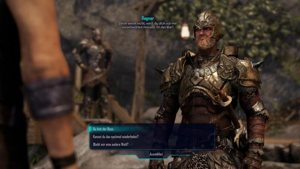 Mit dem bärbeißigen Ragnar versteht sich Hauptfigur Jax auf Anhieb ganz gut. (Screenshot: Golem.de / Bild: Piranha Bytes)