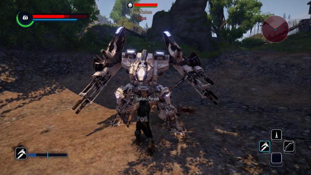 In Kämpfen gegen Roboter sind besonders gute Reflexe gefragt. (Screenshot: Golem.de / Bild: Piranha Bytes)