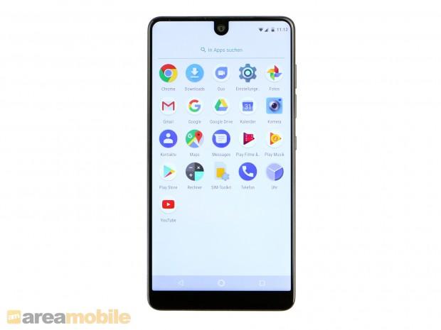 Der Bildschirm des Essential Phone hat sehr schmale Ränder. (Bild: Areamobile)