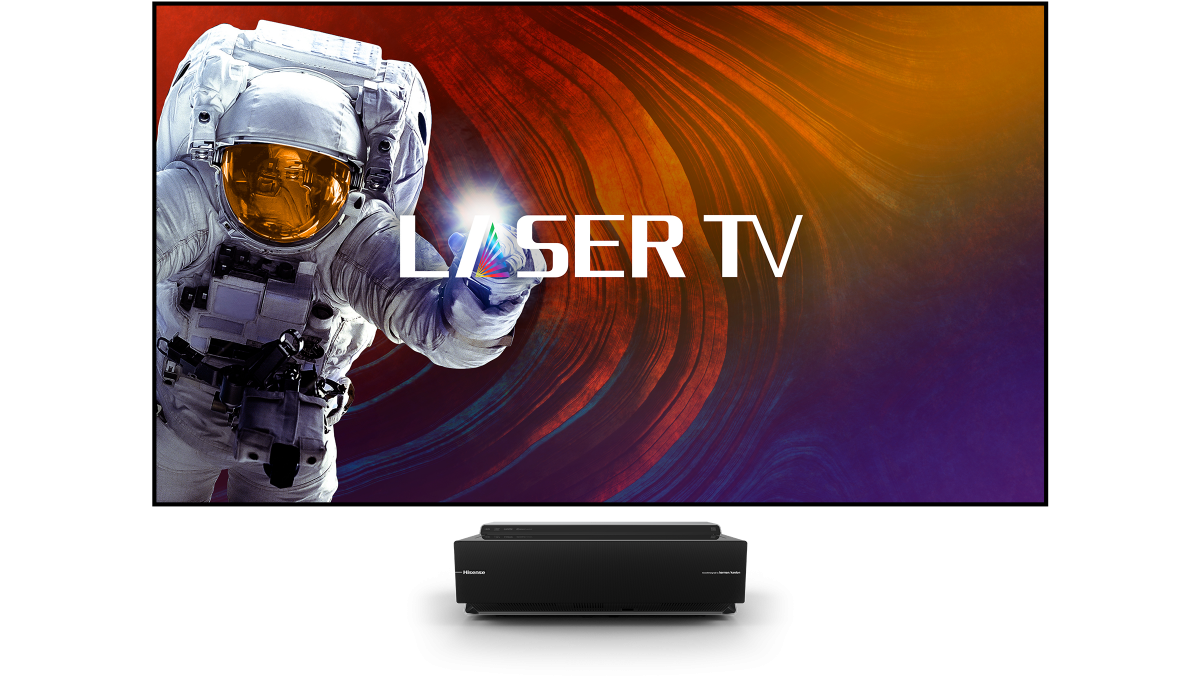 Hisense 100L8D: Laserprojektor wird zum 100-Zoll-Heimkino mit Lautsprechern - Projektor plus Leinwand (Bild: Hisense)
