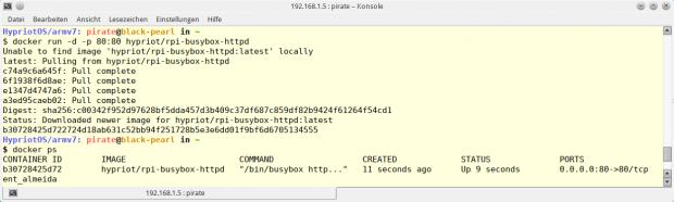 Mit einem Aufruf wird das Docker-Image in Betrieb genommen. Das Kommando docker ps zeigt anschließend den aktuellen Status des Containers an. (Raspberry Pi Geek)