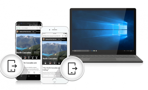 Edge kann Webseiten mit Desktops teilen. (Bild: Microsoft)