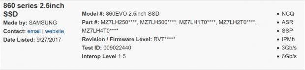 Samsung 86O Evo in der Datenbank (Bild: Sata-IO)