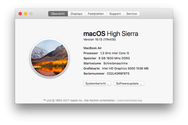 High Sierra im Build 405 (Screenshot: Golem.de)