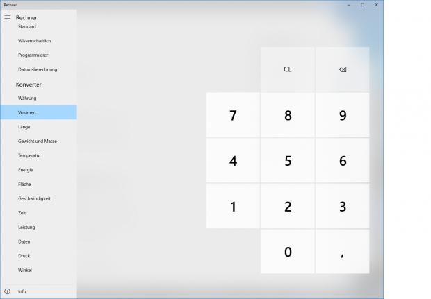 Kleine Änderungen bei den Umrechnungen im Taschenrechner (Screenshot: Golem.de)