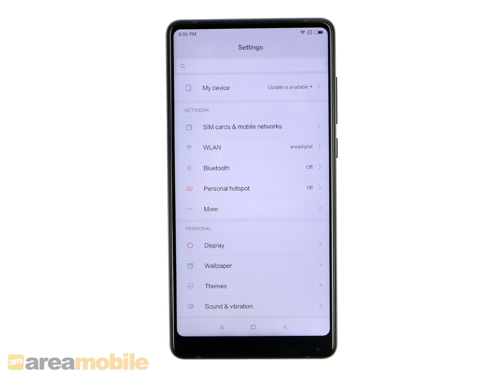 Mi Mix 2 im Test: Xiaomi mixt beim zweiten Mal besser - Das fast randlose Display des Mi Mix 2 (Bild: Areamobile)