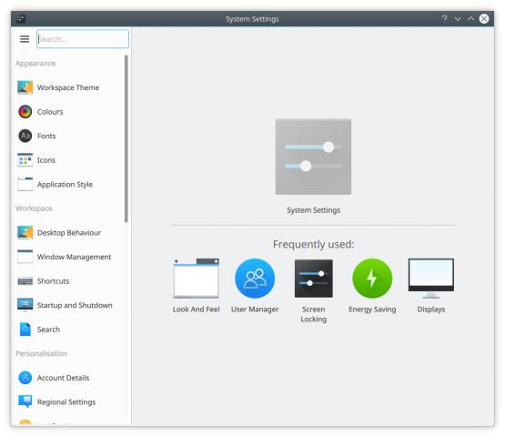 Die neuen Systemeinstellungen von Plasma (Bild: KDE)