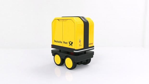 Der Zustellroboter Postbot kann bis 150 kg Briefe und Pakete transportieren. (Foto: Deutsche Post)