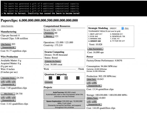 In Phase Zwei wird vor allem automatisiert produziert. (Universal Paperclips/Screenshot: Alexander Merz)