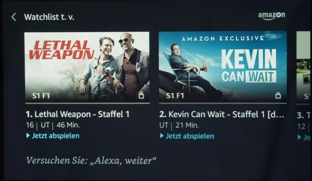 Per Zuruf zeigt Echo Show die Watchlist von Amazon Video. (Bild: Martin Wolf/Golem.de)
