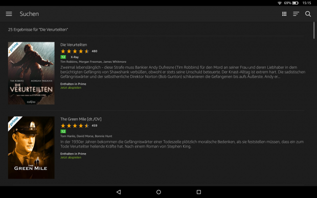 Die Amazon-Video-App auf dem Fire HD 10 markiert alle Prime-Inhalte. (Bild: Ingo Pakalski/Golem.de)