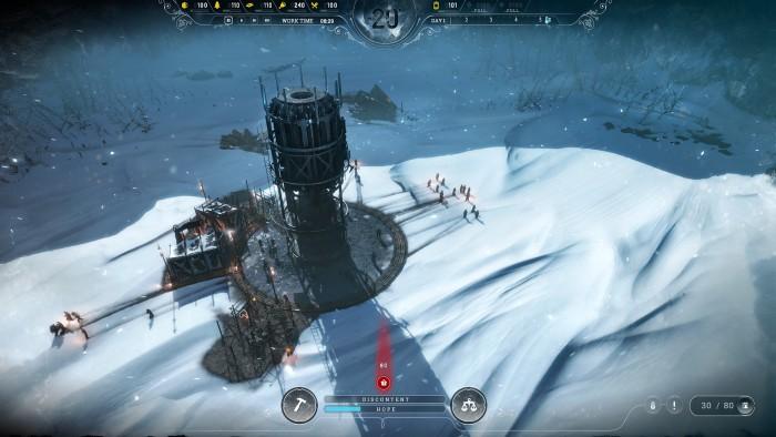 In Frostpunk bauen wir eine Siedlung im Eis auf. (Screenshot: 11 Bit Studios)