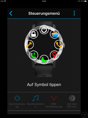 Das Steuerungsmenü kann der Nutzer weitgehend selbst konfigurieren. (Bild: Garmin/Screenshot: Golem.de)