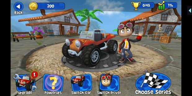 Beach Buggy Racing sieht genauso aus, als ob wir das Spiel normal installiert hätten. In der oberen rechten Ecke gibt es allerdings noch das Hatch-Menü. (Screenshot: Golem.de)