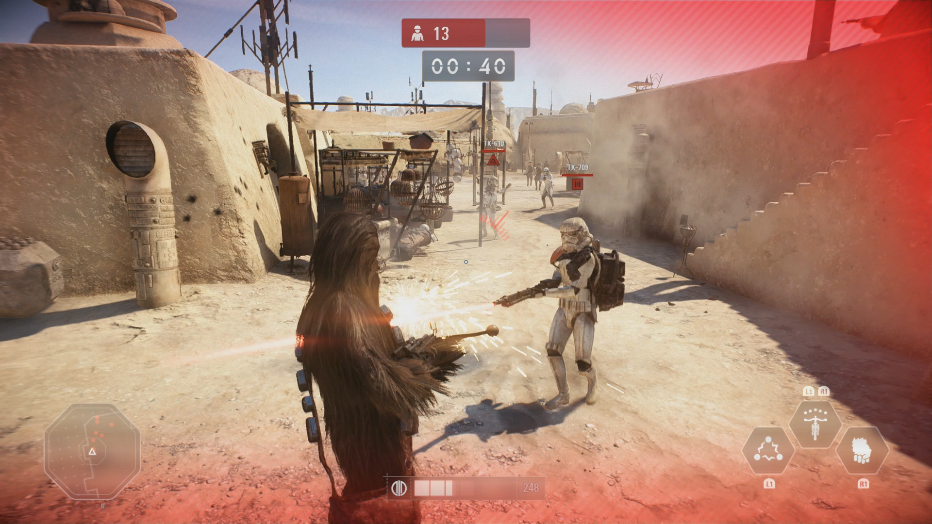 Star Wars Battlefront 2 angespielt: Sammeln ihr sollt ... - Als Wookie sind wir auf Tatooine unterwegs. (Bild: EA/Screenshot: Golem.de)