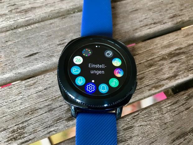 Im Kreismenü hat der Nutzer vollen Zugriff auf nahezu alle Funktionen der Samsung Gear Sport. (Foto: P. Steinlechner / Golem.de)