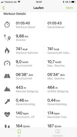 Bei der Auswertung sind alle relevanten Daten und ein paar mehr mit dabei. (Bild: Samsung / Screenshot: Golem.de)