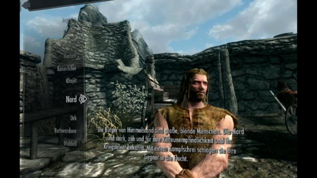Das Menü zur Charaktergenerierung wird einfach in die Welt eingeblendet. (Bild: Bethesda / Screenshot: Golem.de)