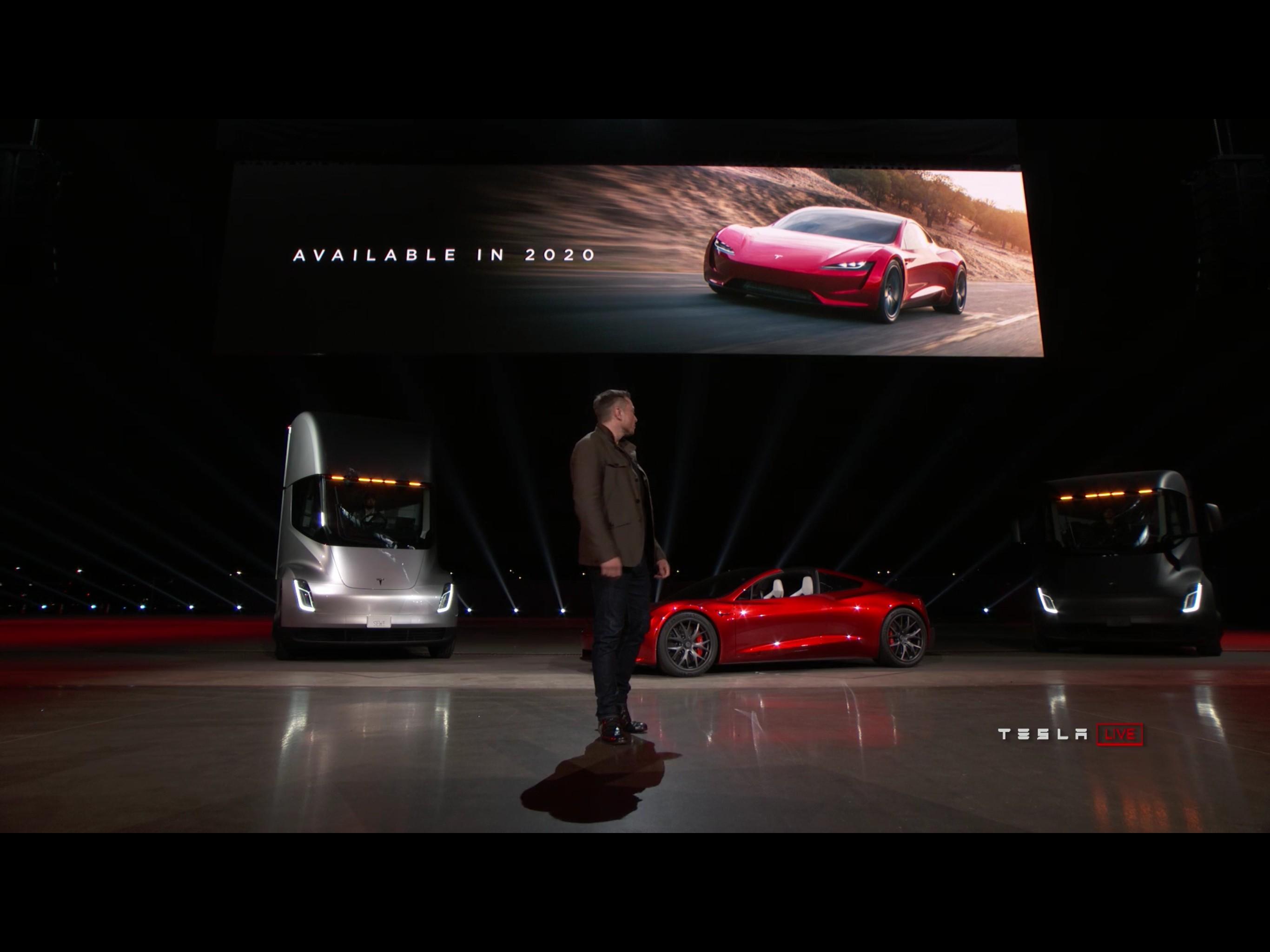 Elektrosportwagen: Tesla Roadster 2 beschleunigt in 2 Sekunden auf Tempo 100 - Tesla Roadster 2 (Bild: Tesla/ Screenshot: Golem.de)