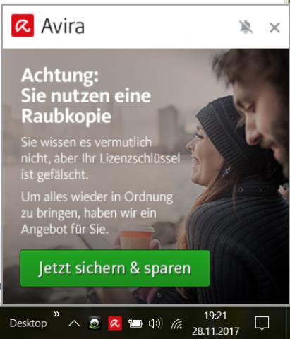 Die Anzeige von Avira (Golem.de/Leserzusendung)