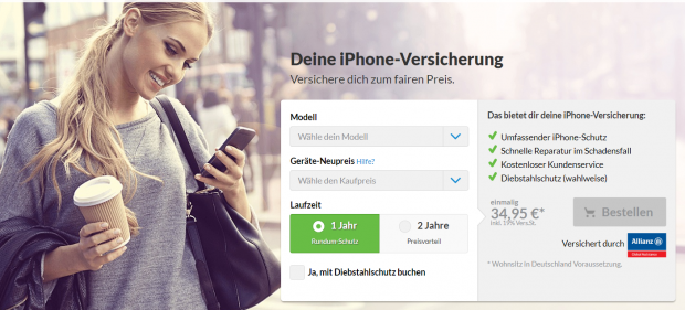 Die Webseite von Schutzklick suggeriert, dass ein iPhone bereits für 34,95 Euro versichert werden kann. Doch das gilt nicht einmal für das iPhone SE. (Schutzklick/Screenshot: Golem.de)