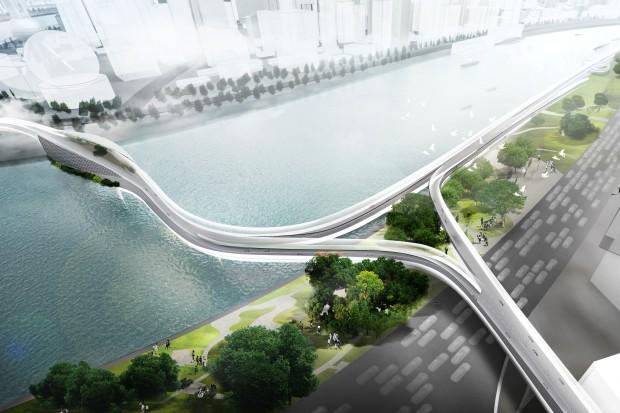 Die neuen Hochstraßen sollen eine schnelle und kreuzungsfreie Fortbewegung mit elektrifizierten Zweirädern ermöglichen. (Grafik: BMW)