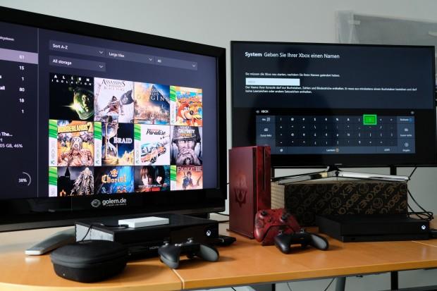 Die drei Xbox-One-Konsolen ... (Foto: Michael Wieczorek/Golem.de)