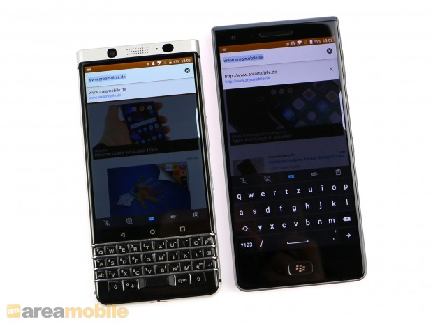 Links das Keyone, rechts das Motion (Bild: Area Mobile)