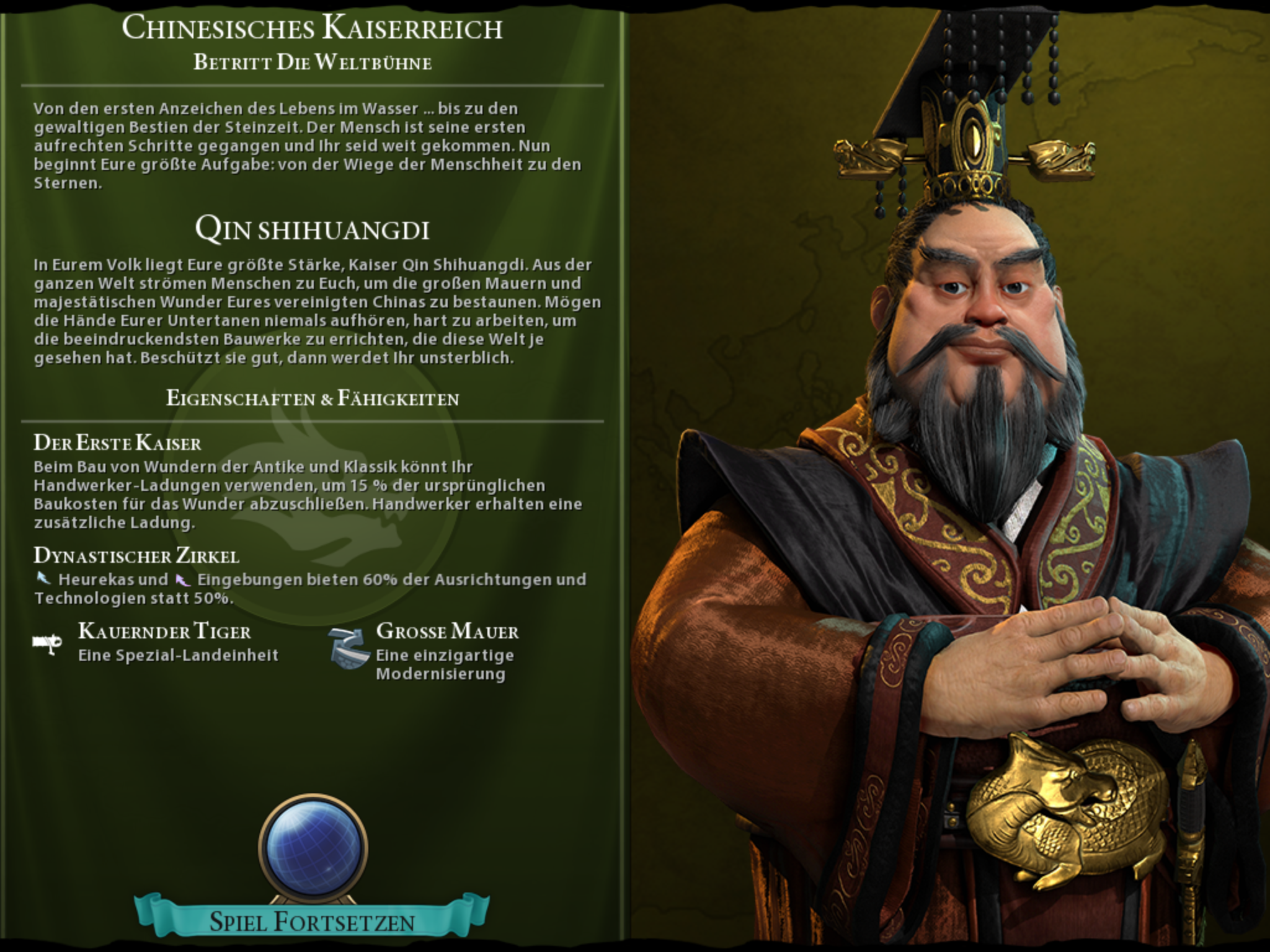 Civilization 6 auf iPad angespielt: Rundenbasierte Spieltiefe erobert Flachdisplay - Mit dem chinesischen Kaiser starten wir zur ersten Welteroberung. (Bild: 2K Games/Screenshot: Golem.de)
