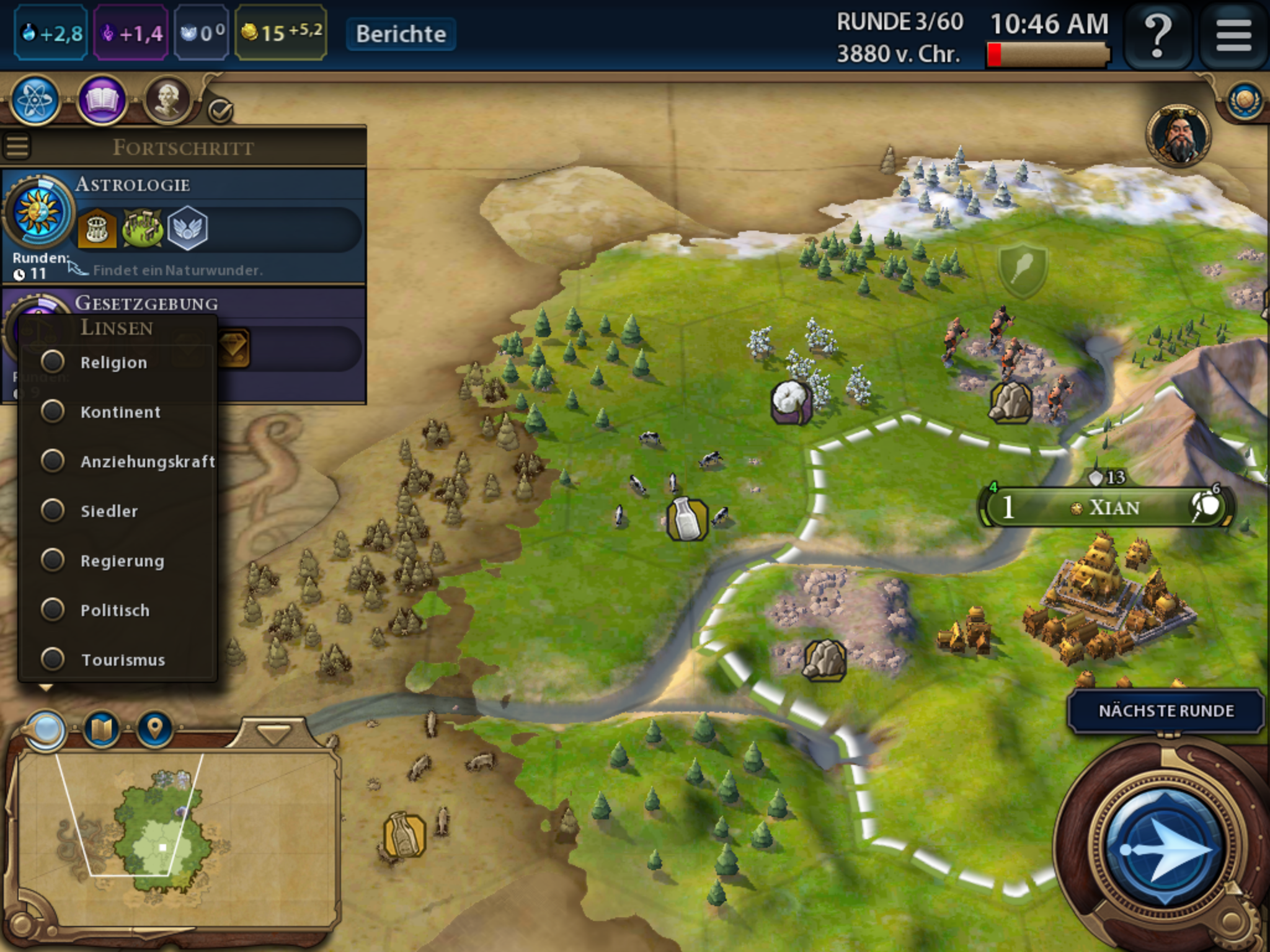 Civilization 6 auf iPad angespielt: Rundenbasierte Spieltiefe erobert Flachdisplay - Am Bildschirmrand gibt es eine Akkuanzeige. (Bild: 2K Games/Screenshot: Golem.de)